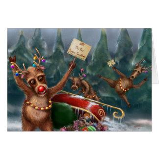 Ren gehen auf Streik-Weihnachtskarte Karte