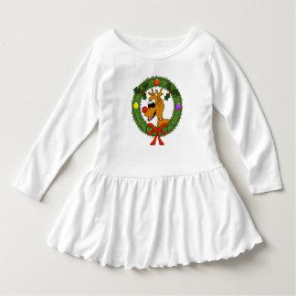 Ren im Kranz-Kleinkind-Rüsche-Kleid Kleid