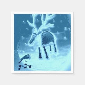 Ren Robin im Schnee Serviette
