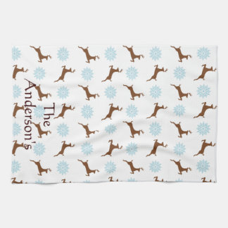 Ren-Schneeflocke-Muster-personalisiertes Handtuch