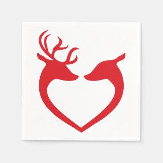Ren-Silhouette-rotes und weißes Weihnachtspapier Serviette