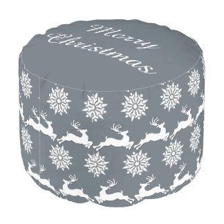 Ren-und Schneeflocke-Weihnachtsrunder Puff Hocker