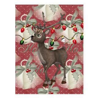 Ren und Weihnachten Bell Postkarte