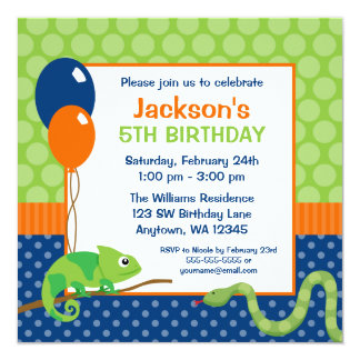 Reptil-Polka-Punkt-Kindergeburtstag Quadratische 13,3 Cm Einladungskarte