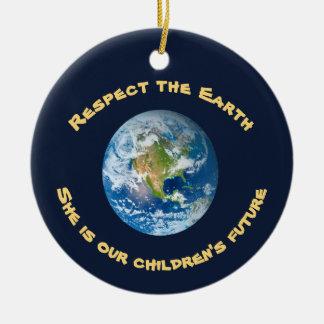 Respekt-Zukunft der Planeten-Erdverzierung Rundes Keramik Ornament