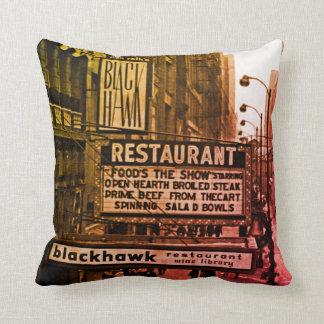 Restaurant-Sechzigerjahre Foto Chicagos Blackhawk Kissen