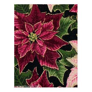 Retro 50er Poinsettia-Burgunder-Rosa Postkarte