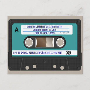 Retro 80er Kassette Mixtape personalisiert Einladung