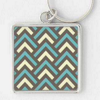 Retro aquamarines blaues Zickzack Streifen-Muster Silberfarbener Quadratischer Schlüsselanhänger