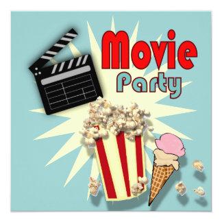 Retro blaue Jungen-Film-Geburtstags-Party Karte