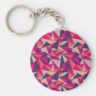Retro blaues rosa Dreieck-geometrisches Muster Standard Runder Schlüsselanhänger