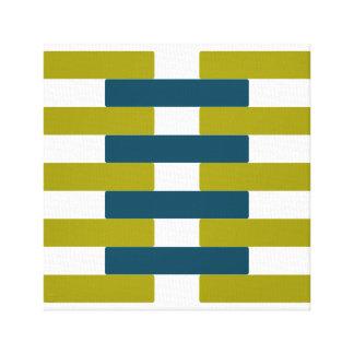 Retro Chartreuse u. blaues Grün-Bar-grafische Leinwanddruck