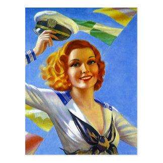 Retro die Gallonen-Pin-up-Girl-Segeln des Postkarte