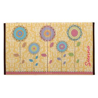 Retro Foliofall des Regenbogen-Blumen-Namen-IPAD C