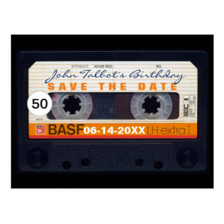 Retro Geburtstag Save the Date PostC des Tonbandes Postkarte