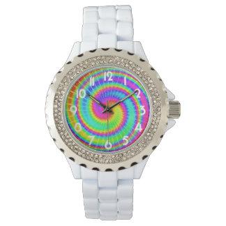 Retro gefärbte KrawatteHippie psychedelisch Uhr