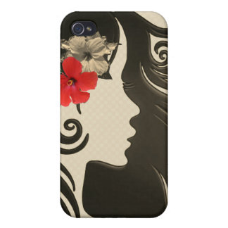 Retro Girly roter Blumentelefonkasten. Hippieart Etui Fürs iPhone 4