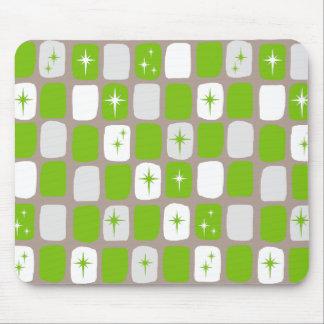 Retro grüne u. weiße Sternexplosionen Mousepad