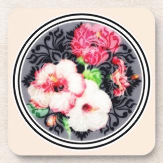 Retro Hibiskusmedaillon auf Pfirsich Untersetzer