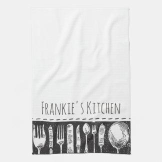 Retro illustriertes Tischbesteck Küchentuch