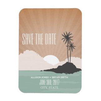 Retro inspirierter Strand-Hochzeits-Save the Date Rechteckige Magnete