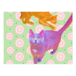 Retro Kätzchen-Karte Postkarte