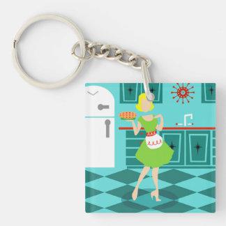 Retro Küchen-Acryl Keychain Beidseitiger Quadratischer Acryl Schlüsselanhänger
