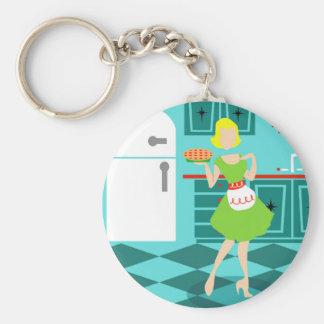 Retro Küchen-Knopf Keychain Schlüsselanhänger