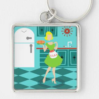 Retro Küchen-Quadrat Keychain Silberfarbener Quadratischer Schlüsselanhänger