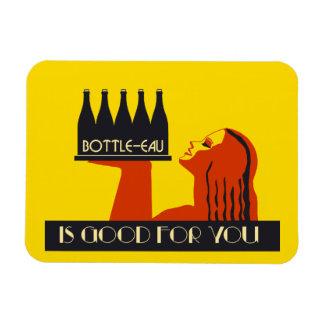 retro Kunst-Deko der Art Flasche-Eau Eckiger Magnet