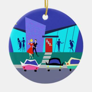 Retro offenes Haus-Party-Weihnachtsverzierung Rundes Keramik Ornament