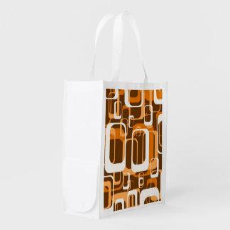 Retro Orange des Musters 1971 Einkaufstaschen