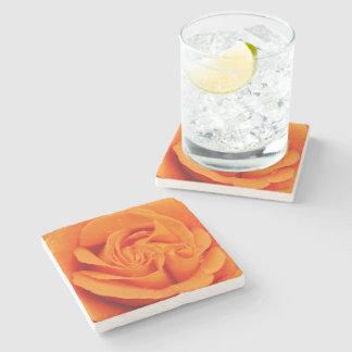 Retro orange Rosen-Blume des SteinUntersetzer