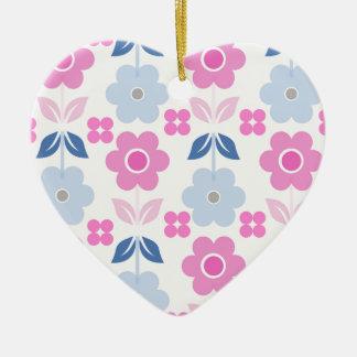 Retro rosa/blaue Blumen Dble-versahen Herz Keramik Ornament
