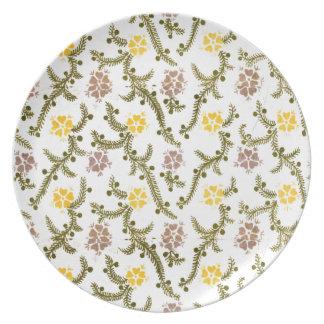 Retro rosa/Gelb-und Grün-Blumen drucken Teller