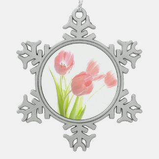 Retro rosa Tulpe-Blumenzinn-Schneeflockeverzierung Schneeflocken Zinn-Ornament