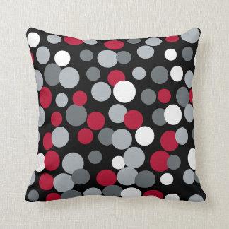 Retro rote und schwarze Wohngestaltung punktiert Kissen