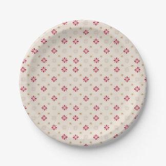 Retro roter Blumen-Goldstern-Vintage Tapete Pappteller