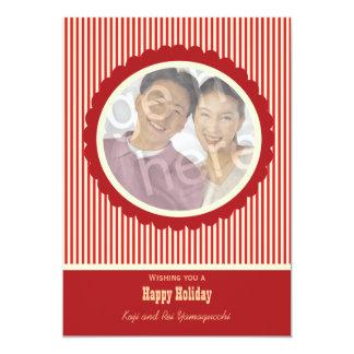Retro Rotes und Weiß Stripes Feiertags-Foto-Karte 12,7 X 17,8 Cm Einladungskarte