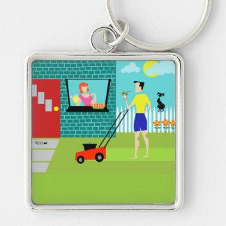 Retro Samstag Morgen Keychain Silberfarbener Quadratischer Schlüsselanhänger