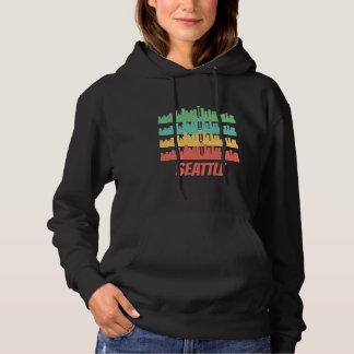 Retro Seattle WA Skyline-Pop-Kunst Hoodie