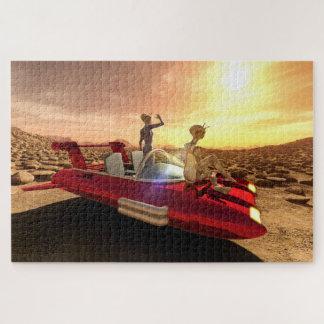 Retro Sonnenuntergang Sci-FI auf Mars Puzzle