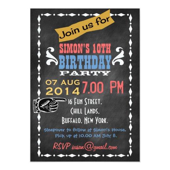 Retro Tafel Kindergeburtstag Party Einladung