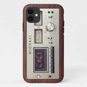 Retro Tech-Vintager Stereorecorder-hölzernes iPhone 11 Hülle
