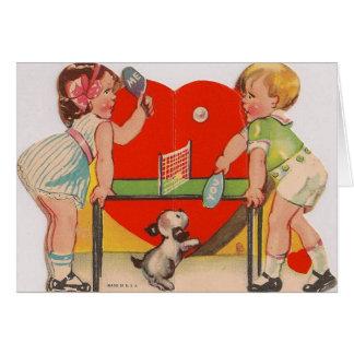 Retro Tischtennis-Valentinstag-Karte Karte