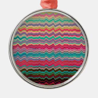 Retro verzerrte Linien Muster Rundes Silberfarbenes Ornament