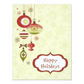 Retro Verzierungen und Schnee - frohe Feiertage 10,8 X 14 Cm Einladungskarte