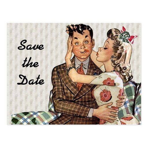 Retro Vierzigerjahre, die Save the Date Paare küss Postkarte