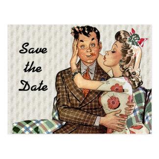 Retro Vierzigerjahre, die Save the Date Paare Postkarte
