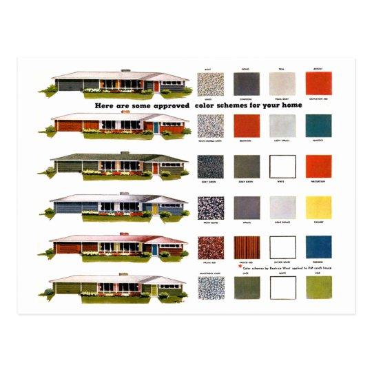retro vintage kitsch vorort anerkannte haus farben postkarte. Black Bedroom Furniture Sets. Home Design Ideas